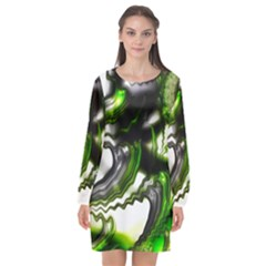 Fractal Green Trumpet Trump Long Sleeve Chiffon Shift Dress  by Pakrebo