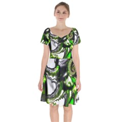 Fractal Green Trumpet Trump Short Sleeve Bardot Dress