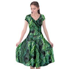 Green Pattern Background Abstract Cap Sleeve Wrap Front Dress