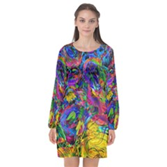 Pattern Structure Background Long Sleeve Chiffon Shift Dress
