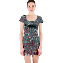 Pattern Structure Background Facade Short Sleeve Bodycon Dress