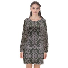 Line Geometry Pattern Geometric Long Sleeve Chiffon Shift Dress