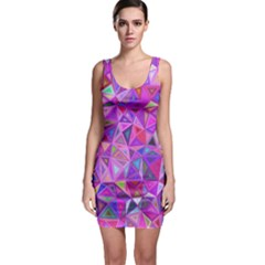 Pink Triangle Background Abstract Bodycon Dress by Pakrebo