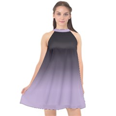 Crocus Petal To Black  Halter Neckline Chiffon Dress