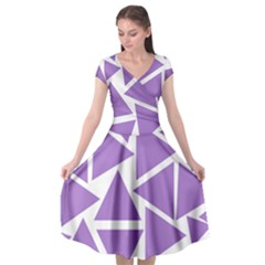 Crocus Petal Triangles  Cap Sleeve Wrap Front Dress