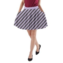 Diagonal Stripes In Crocus Petal And Black  A Line Pocket Skirt by TimelessFashion
