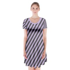 Diagonal Stripes In Crocus Petal And Black  Short Sleeve V Neck Flare Dress by TimelessFashion