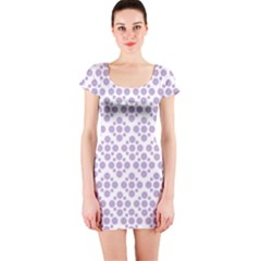 Floral Dot Series   Crocus Petal And White  Short Sleeve Bodycon Dress