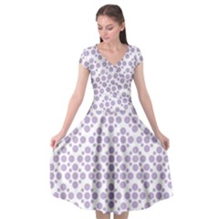 Floral Dot Series   Crocus Petal And White  Cap Sleeve Wrap Front Dress by TimelessFashion