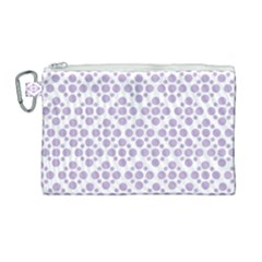 Floral Dot Series   Crocus Petal And White  Canvas Cosmetic Bag (large) by TimelessFashion