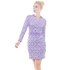 Floral Dot Series   White And Crocus Petal  Button Long Sleeve Dress by TimelessFashion