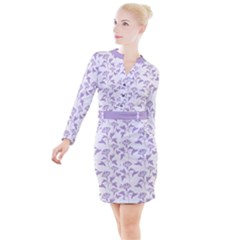 Floral In Crocus Petal  Button Long Sleeve Dress by TimelessFashion