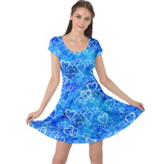 Valentine Heart Love Blue Cap Sleeve Dress by Mariart