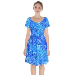 Valentine Heart Love Blue Short Sleeve Bardot Dress