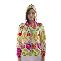 Seamless Pattern Fruit Hooded Windbreaker (women) by Mariart