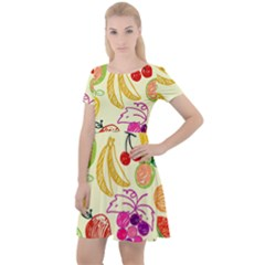 Seamless Pattern Fruit Cap Sleeve Velour Dress  by Mariart