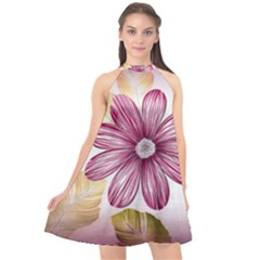 Star Flower Halter Neckline Chiffon Dress  by Mariart