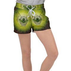 Awesome Creepy Skull With Wings Women s Velour Lounge Shorts by FantasyWorld7