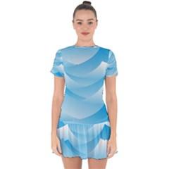 Waves Background Drop Hem Mini Chiffon Dress by AnjaniArt