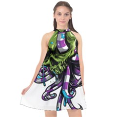 Tentacle Skull Halter Neckline Chiffon Dress  by Jojostore