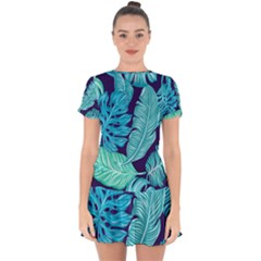 Tropical Greens Leaves Banana Drop Hem Mini Chiffon Dress by Mariart