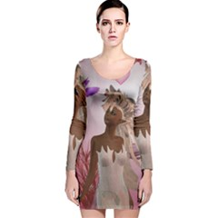 Wonderful Fairy With Feather Hair Long Sleeve Velvet Bodycon Dress by FantasyWorld7