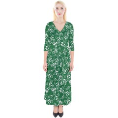 Fancy Floral Pattern Quarter Sleeve Wrap Maxi Dress