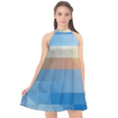 Static Graphic Geometric Halter Neckline Chiffon Dress  by AnjaniArt