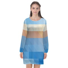 Static Graphic Geometric Long Sleeve Chiffon Shift Dress