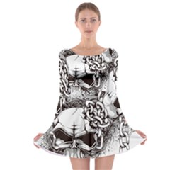 Skull And Crossbones Long Sleeve Skater Dress
