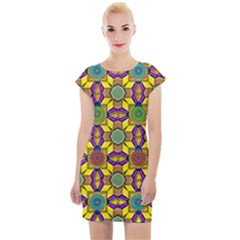 Tile Background Geometric Cap Sleeve Bodycon Dress by Jojostore