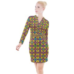 Tile Background Geometric Button Long Sleeve Dress by Jojostore