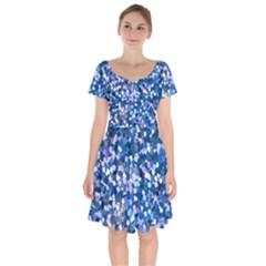 Blue Shimmer Short Sleeve Bardot Dress