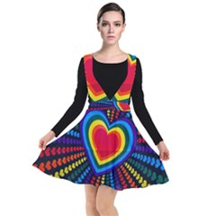 Rainbow Pop Heart Plunge Pinafore Dress by WensdaiAddamns