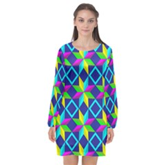 Pattern Star Abstract Background Long Sleeve Chiffon Shift Dress