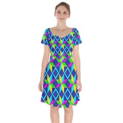 Pattern Star Abstract Background Short Sleeve Bardot Dress