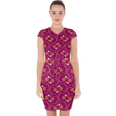 Pattern Wallpaper Seamless Abstract Capsleeve Drawstring Dress  by Pakrebo