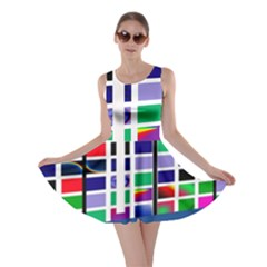 Color Graffiti Pattern Geometric Skater Dress