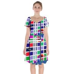 Color Graffiti Pattern Geometric Short Sleeve Bardot Dress by Pakrebo