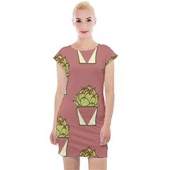 Cactus Pattern Background Texture Cap Sleeve Bodycon Dress by Pakrebo