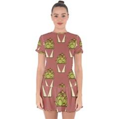 Cactus Pattern Background Texture Drop Hem Mini Chiffon Dress