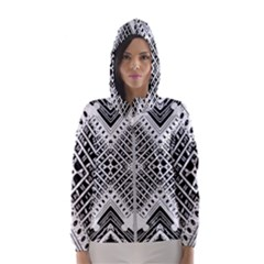 Pattern Tile Repeating Geometric Hooded Windbreaker (women) by Pakrebo
