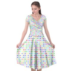 Dots Color Rows Columns Background Cap Sleeve Wrap Front Dress by Pakrebo