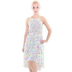 Dots Color Rows Columns Background High Low Halter Chiffon Dress  by Pakrebo