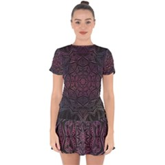 Mandala Neon Symmetric Symmetry Drop Hem Mini Chiffon Dress by Pakrebo