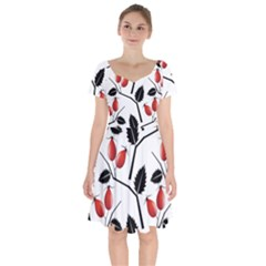 Rose Hip Pattern Branches Autumn Short Sleeve Bardot Dress by Pakrebo