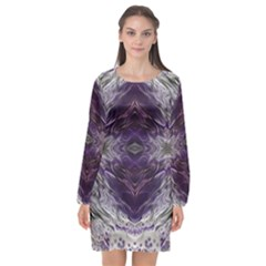 Pattern Abstract Horizontal Long Sleeve Chiffon Shift Dress