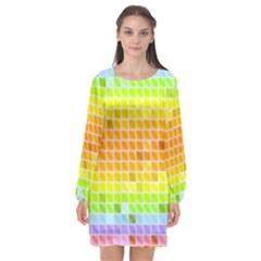 Pattern Geometric Square Art Long Sleeve Chiffon Shift Dress  by Pakrebo