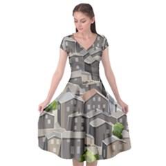 Village Place Portugal Landscape Cap Sleeve Wrap Front Dress