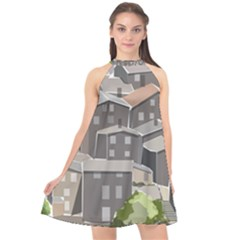 Village Place Portugal Landscape Halter Neckline Chiffon Dress